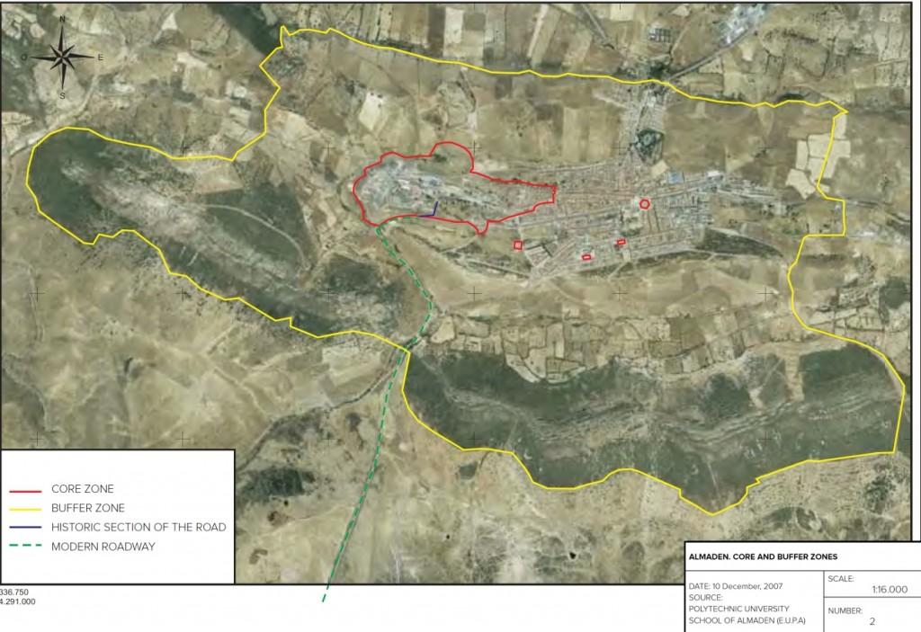 Delimitación del núcleo y el buffer del sitio declarado Patrimonio de la Humanidad. Expediente para la declaración de las minas de Almadén e Idrija como Patrimonio de la Humanidad por la UNESCO