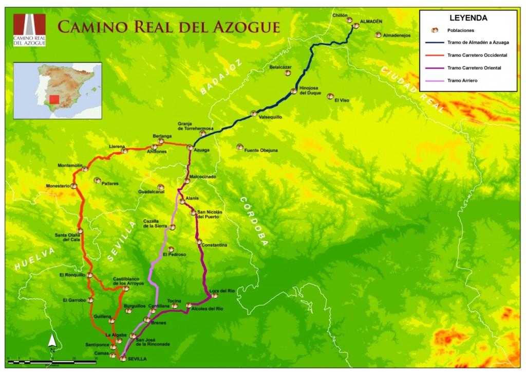 Mapa del Camino Real del Azogue. Elaborado por ArtChemist. En: http://caminorealdelazogue.es/
