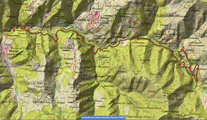 Ruta marcada en cartografía del Instituto Geográfico Nacional